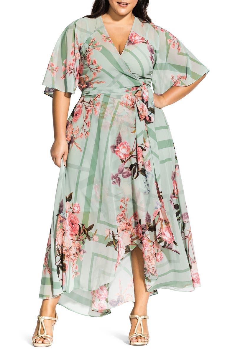 CITY CHIC Sierra Maxi Wrap Dress, Main, color, SIERRA SCARF