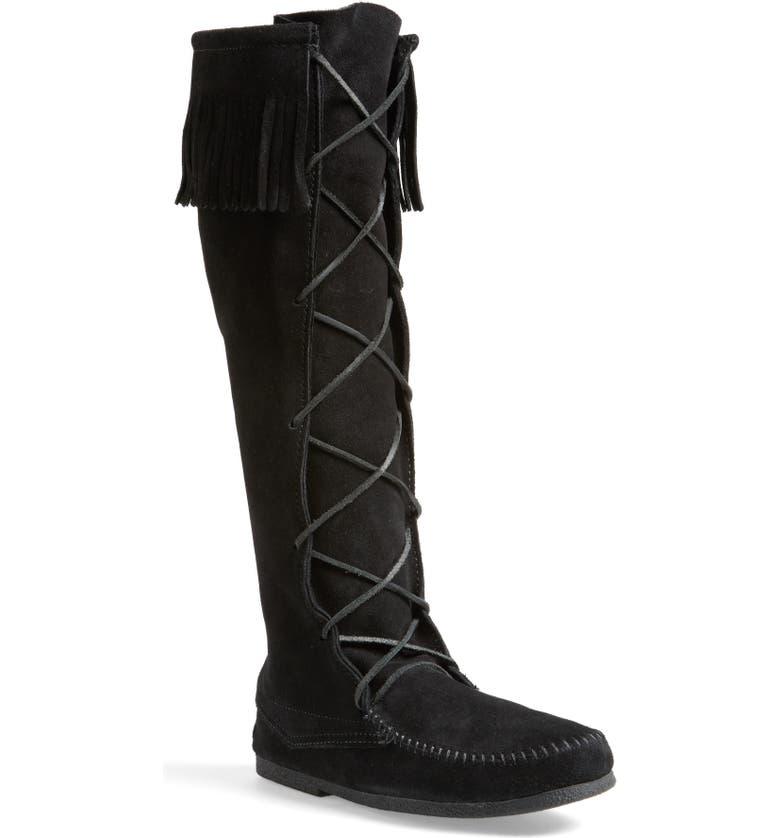 MINNETONKA Knee High Moccasin Boot, Main, color, 001