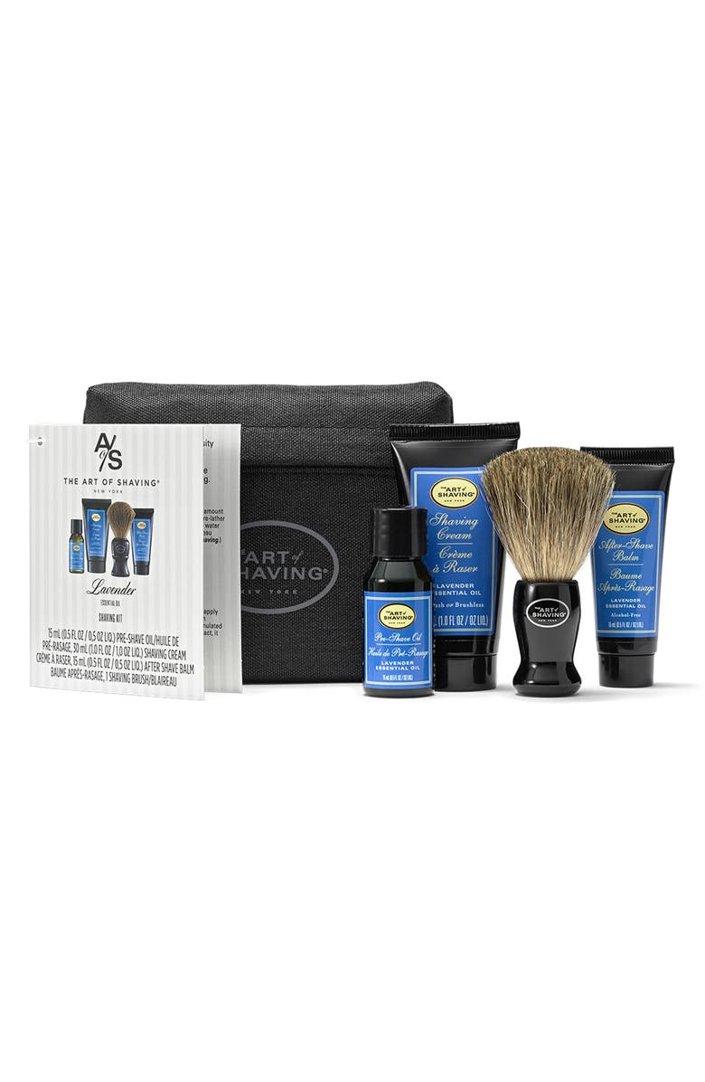 THE ART OF SHAVING <sup>®</sup> Travel Size Starter Kit & Bag, Main, color, LAVENDER