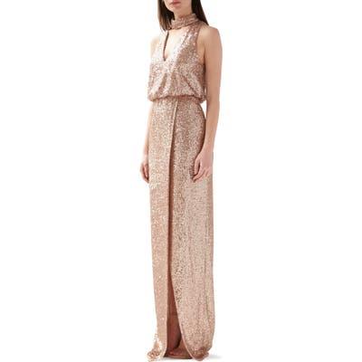 Ml Monique Lhuillier Sequin Blouson Evening Gown, Pink