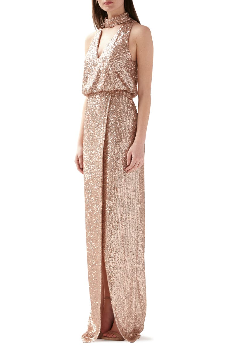 ML MONIQUE LHUILLIER Sequin Blouson Evening Gown, Main, color, ROSE GOLD
