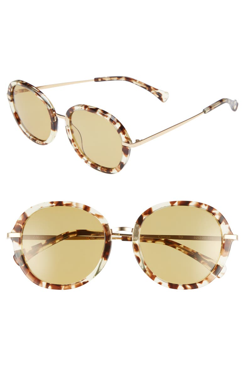 ZAC ZAC POSEN Cameo 52mm Round Sunglasses, Main, color, TORTOISE POLAR/ GOLD