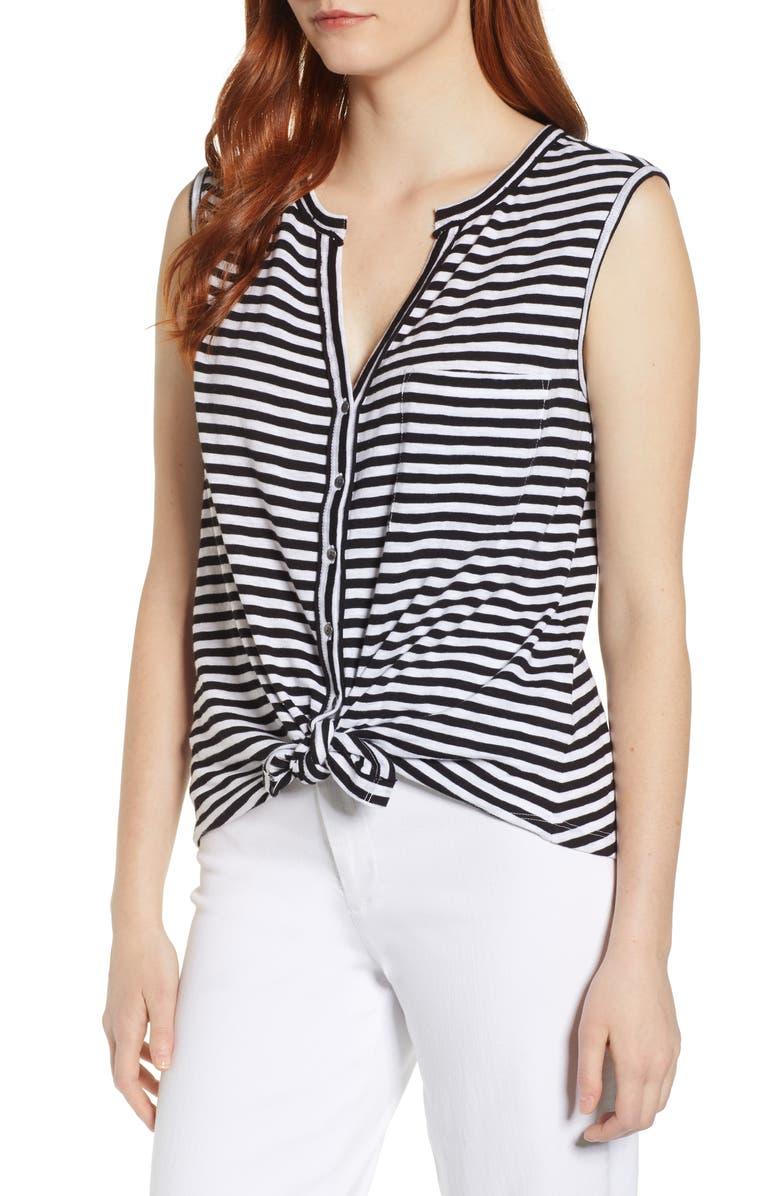CASLON<SUP>®</SUP> Sleeveless Button Top, Main, color, BLACK- WHITE MAXINE STRIPE