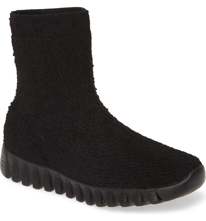 BERNIE MEV. Keyla Sock Bootie, Main, color, BLACK FABRIC