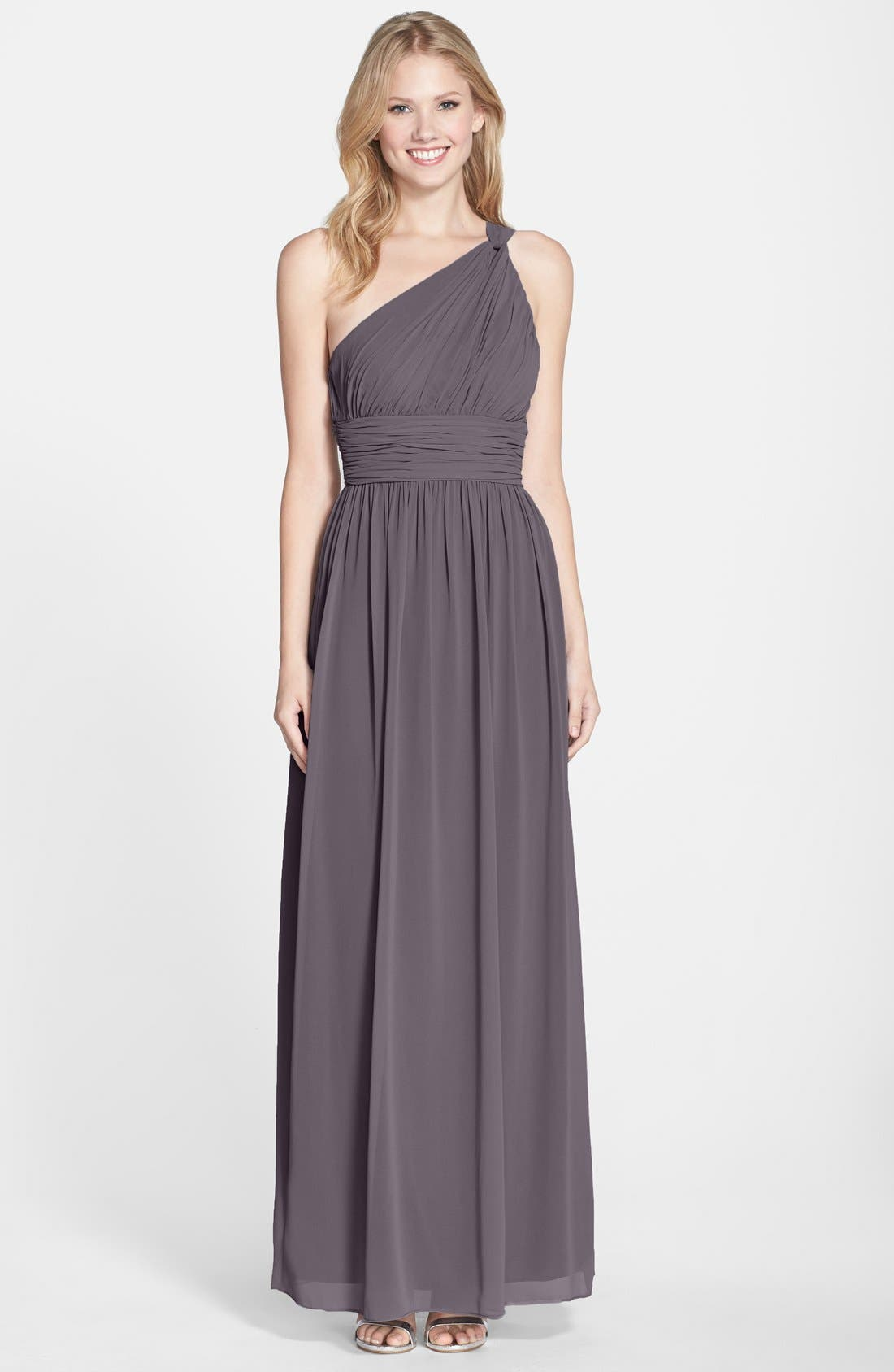 ,                             'Rachel' Ruched One-Shoulder Chiffon Gown,                             Main thumbnail 21, color,                             054