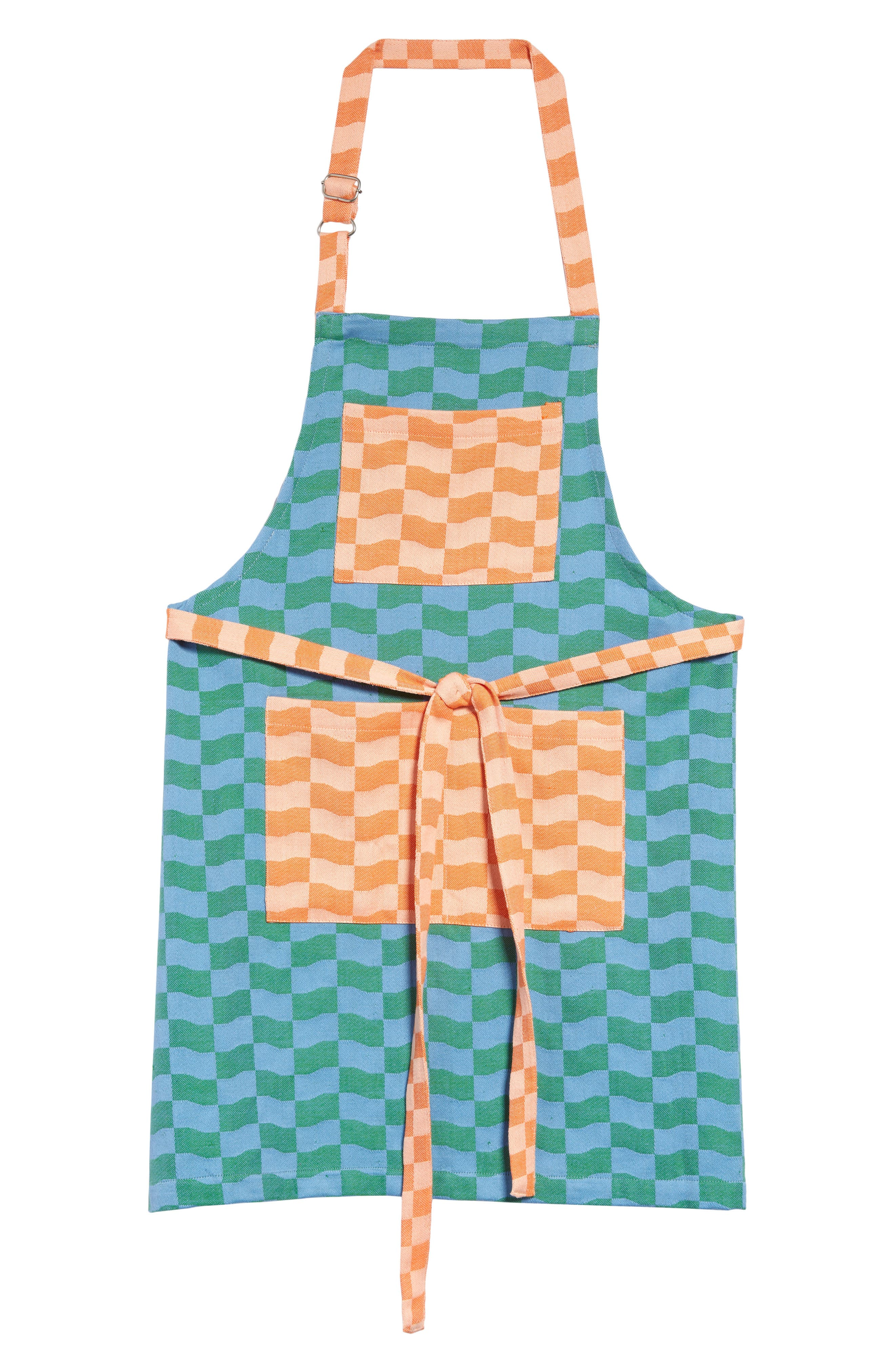 Exclusively at Nordstrom, this woven cotton apron with roomy pockets for stowing utensils showcases designer Ellen Van Dusen\\\'s love of bold color and pattern. Style Name: Dusen Dusen Checkered Tread Apron. Style Number: 6099174. Available in stores.