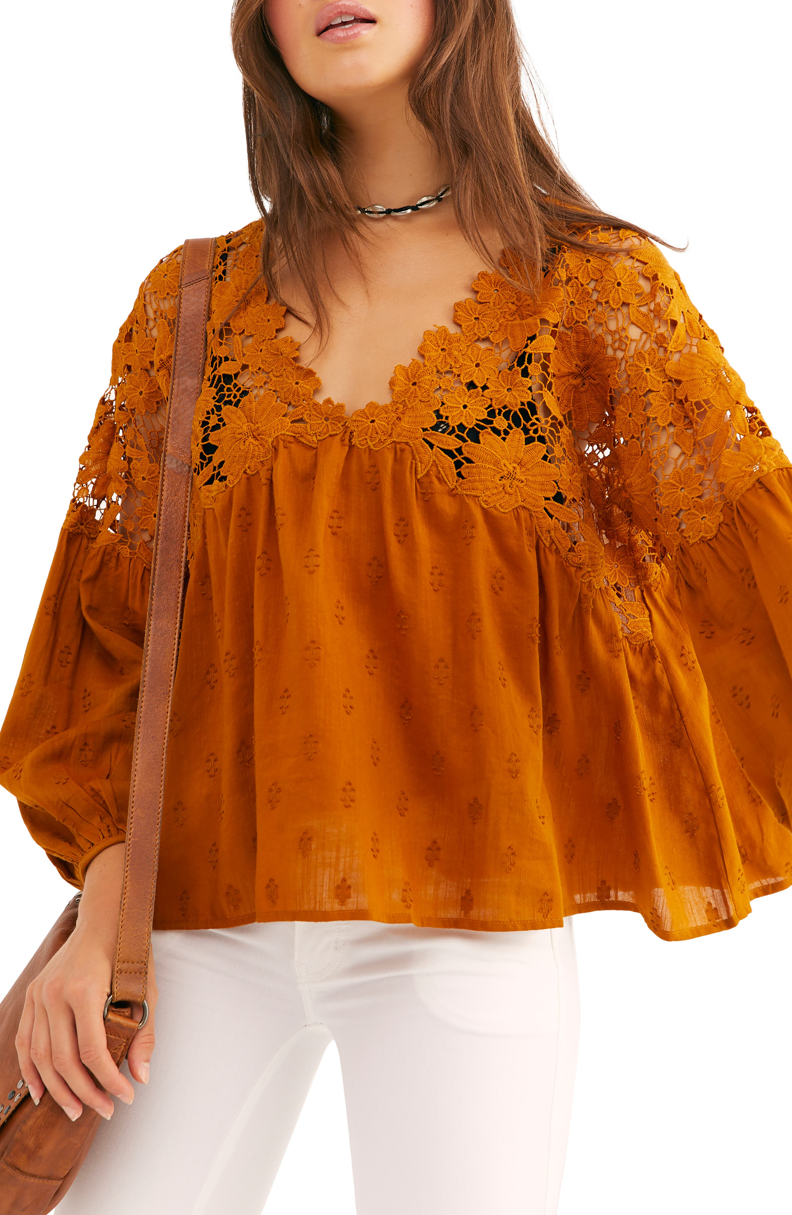 Women's 70s Shirts, Blouses, Hippie Tops Womens Free People Lina Embroidered Lace Blouse Size X-Small - Metallic $118.00 AT vintagedancer.com