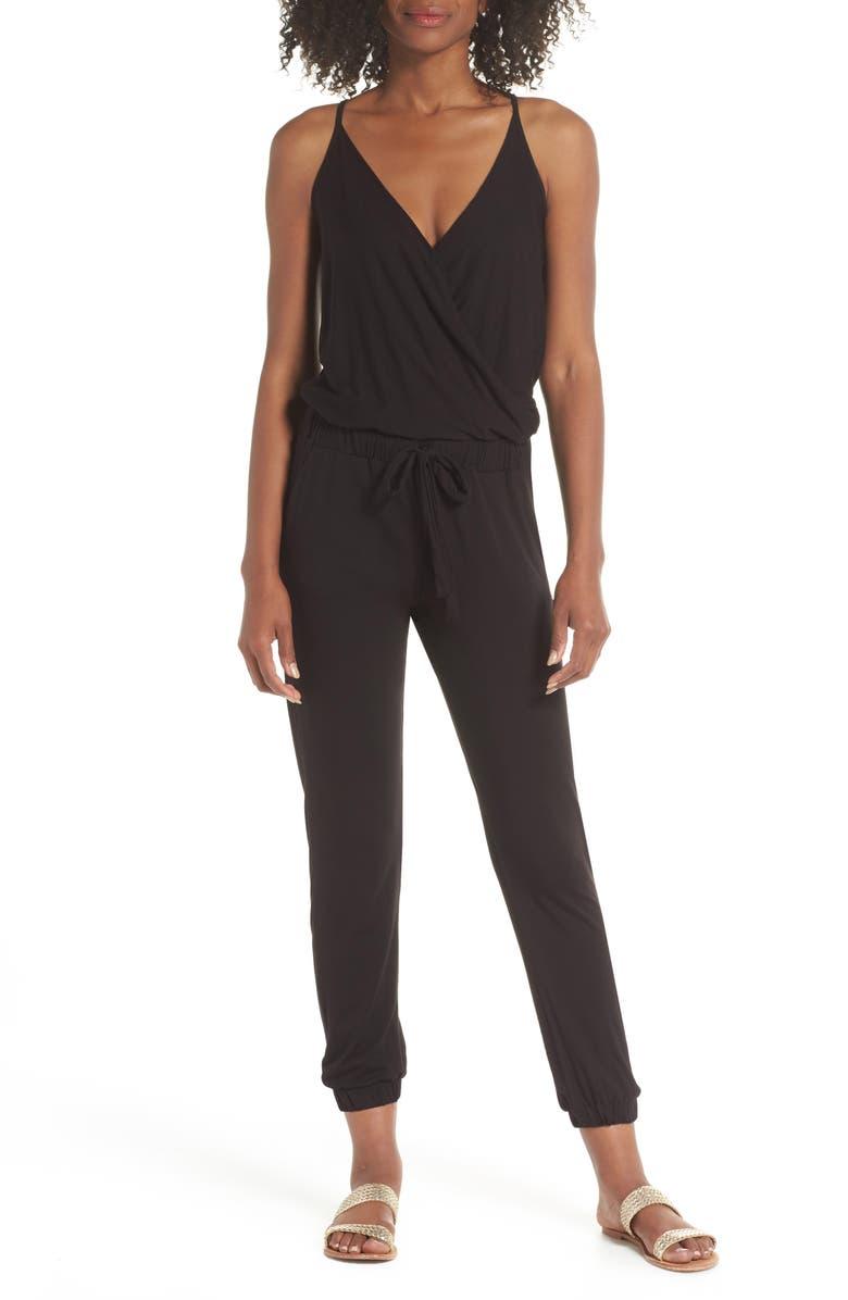 ELAN Surplice Cover-Up Jumpsuit, Main, color, BLACK