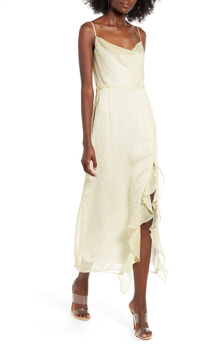 4SI3NNA Farah Cowl Neck Chiffon Maxi Dress, Main, color, YELLOW FLORAL