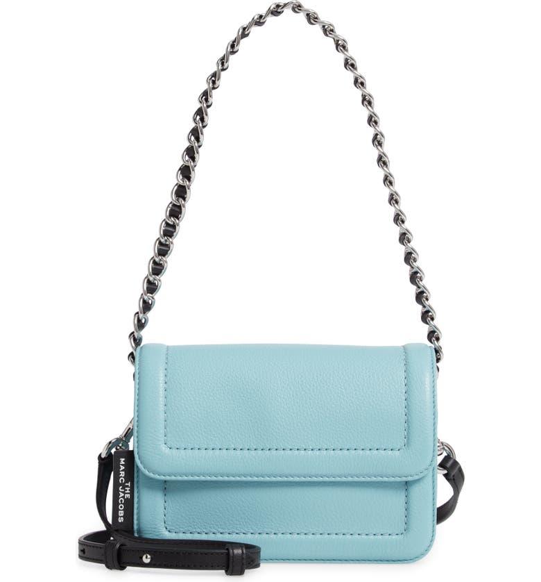 THE MARC JACOBS The Mini Cushion Leather Shoulder Bag, Main, color, SILENT BLUE