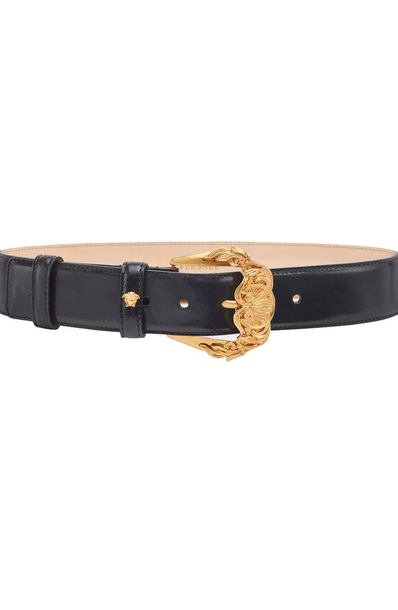 VERSACE FIRST LINE Baroque Buckle Leather Belt, Main, color, 001