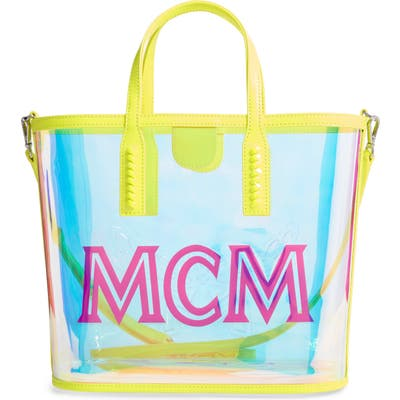 Mcm Medium Luccent Transparent Holographic Shopper - Yellow
