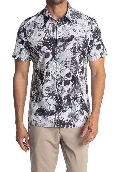 Image of Calvin Klein Tropical Print Short Sleeve Shirt