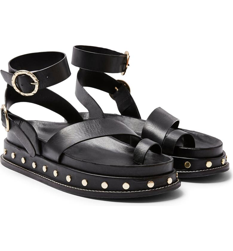 TOPSHOP Fawn Studded Platform Sandal, Main, color, BLACK MULTI
