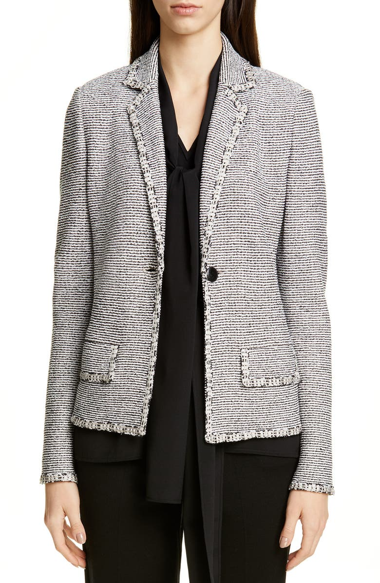ST. JOHN COLLECTION Luxury Crepe Tweed Knit Jacket, Main, color, CAVIAR/ WHITE/ KHAKI MULTI