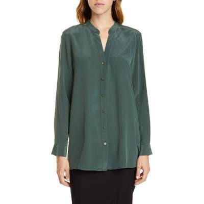 Eileen Fisher Band Collar Silk Blouse, Green