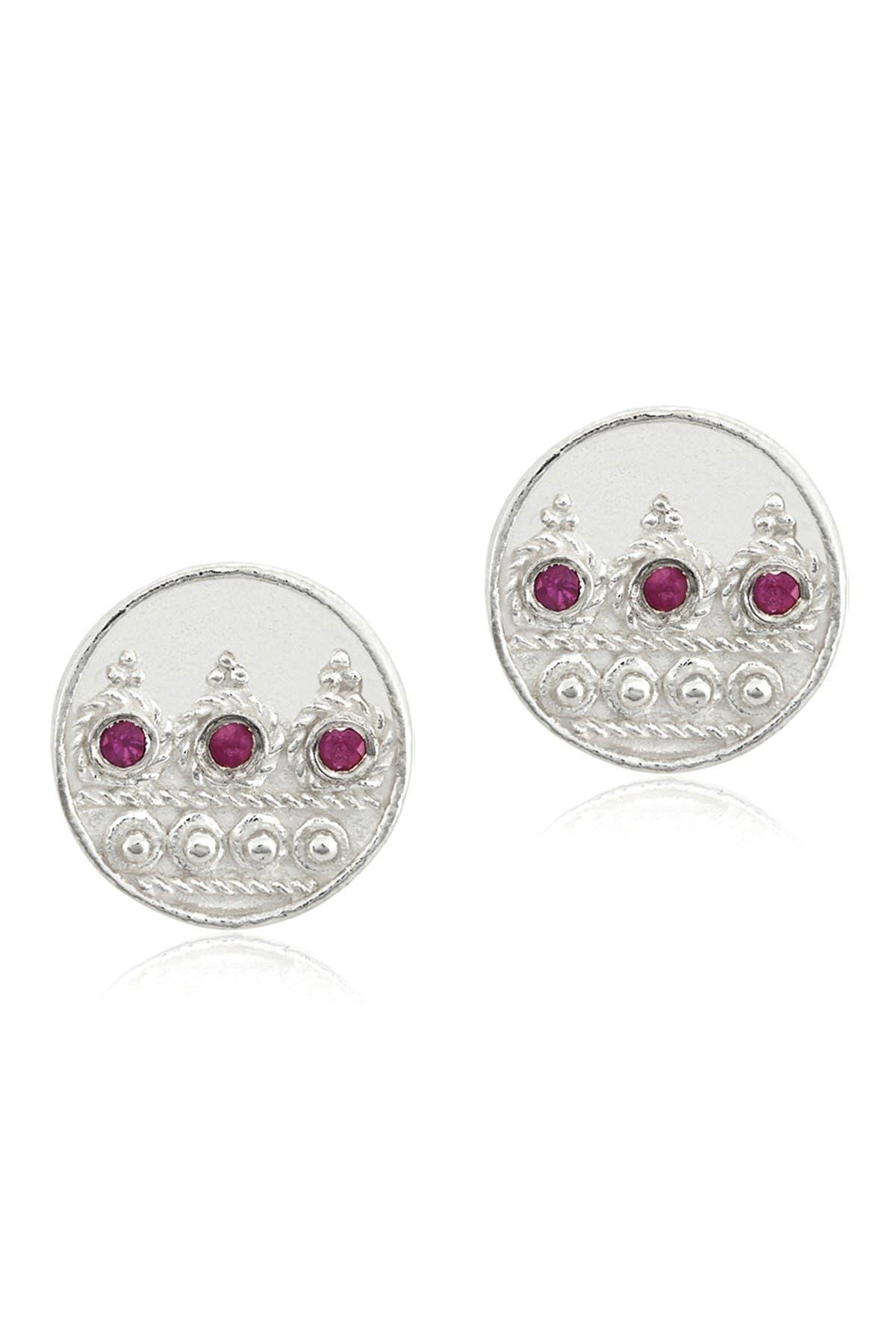 Image of LEGEND AMRAPALI SILVER Sterling Silver Heritage Moon Pink Ruby Stud Earrings