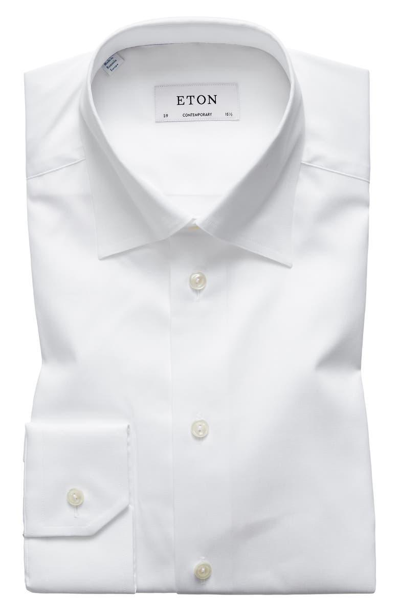 ETON Contemporary Fit Solid Dress Shirt, Main, color, 100
