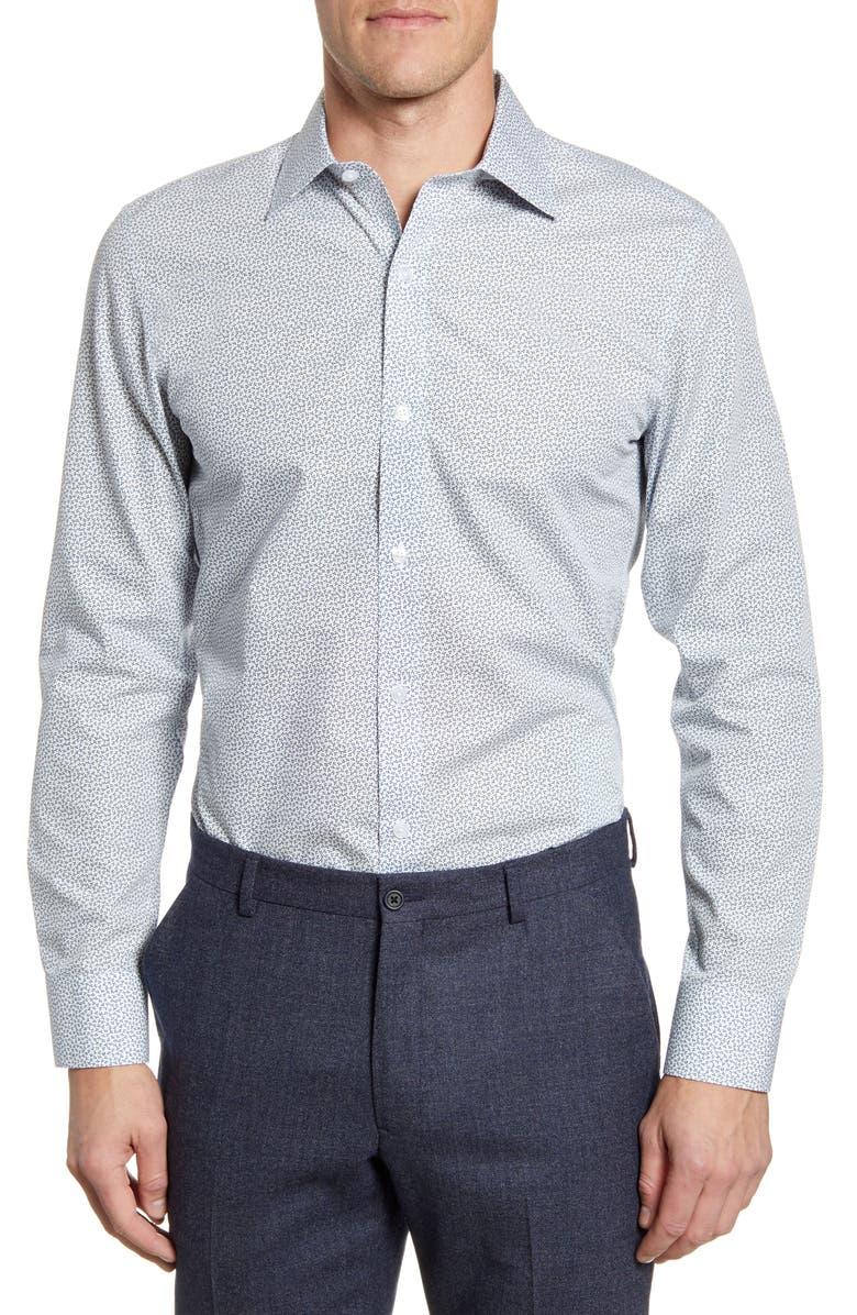 BONOBOS Lucky Clover Trim Fit Dress Shirt, Main, color, 400
