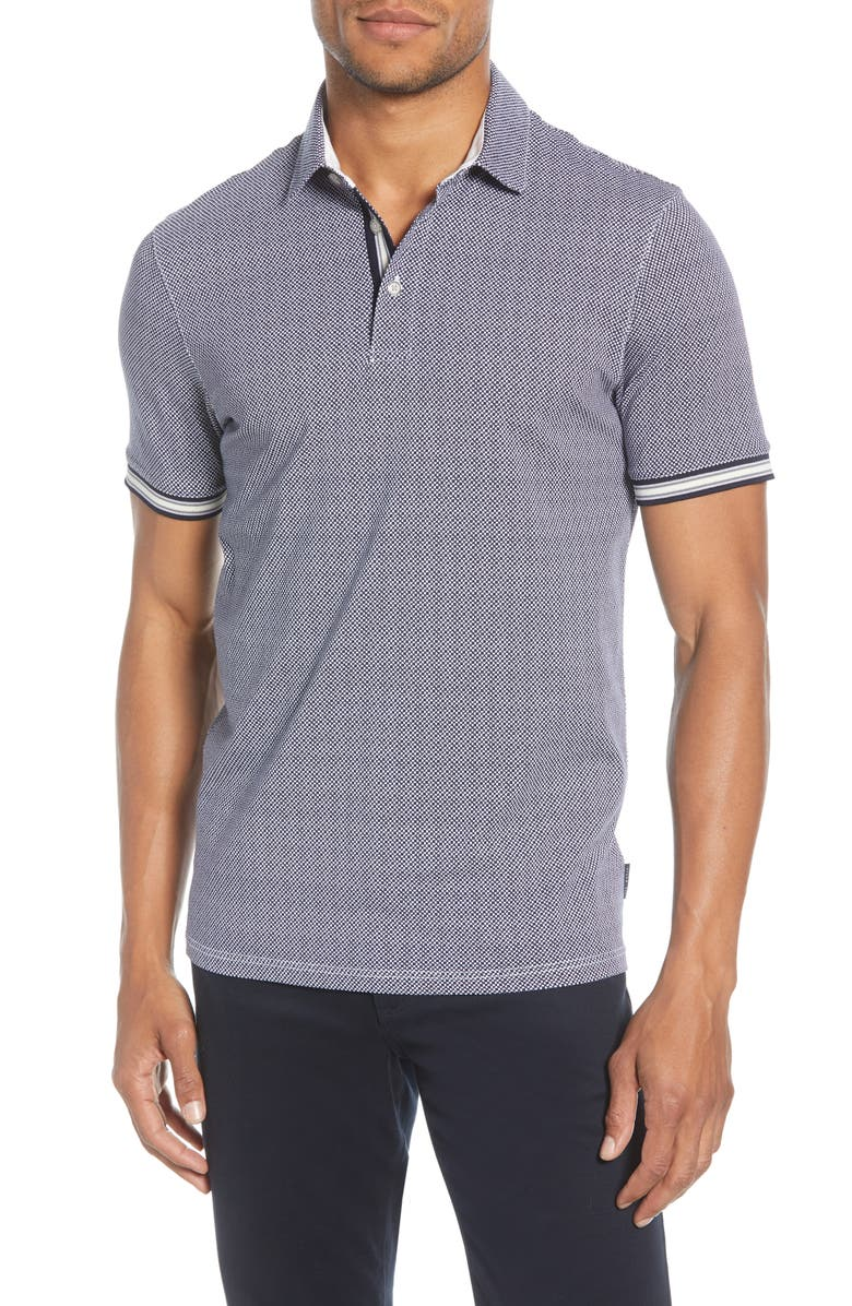 TED BAKER LONDON Beep Slim Fit Print Polo, Main, color, NAVY