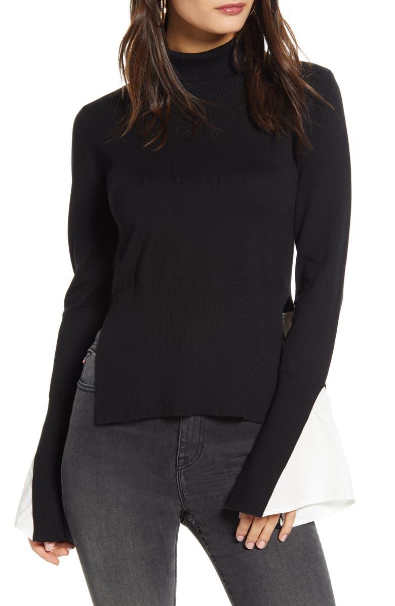 ENGLISH FACTORY Twofer Turtleneck Sweater, Main, color, 001