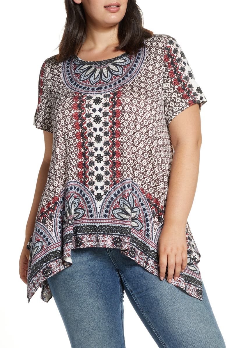 SINGLE THREAD Geo & Floral Print Shark Bite Top, Main, color, 640