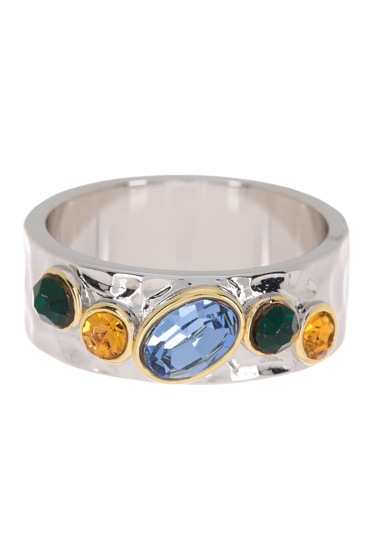 Image of Covet Clustered Crystal Hammered Ring