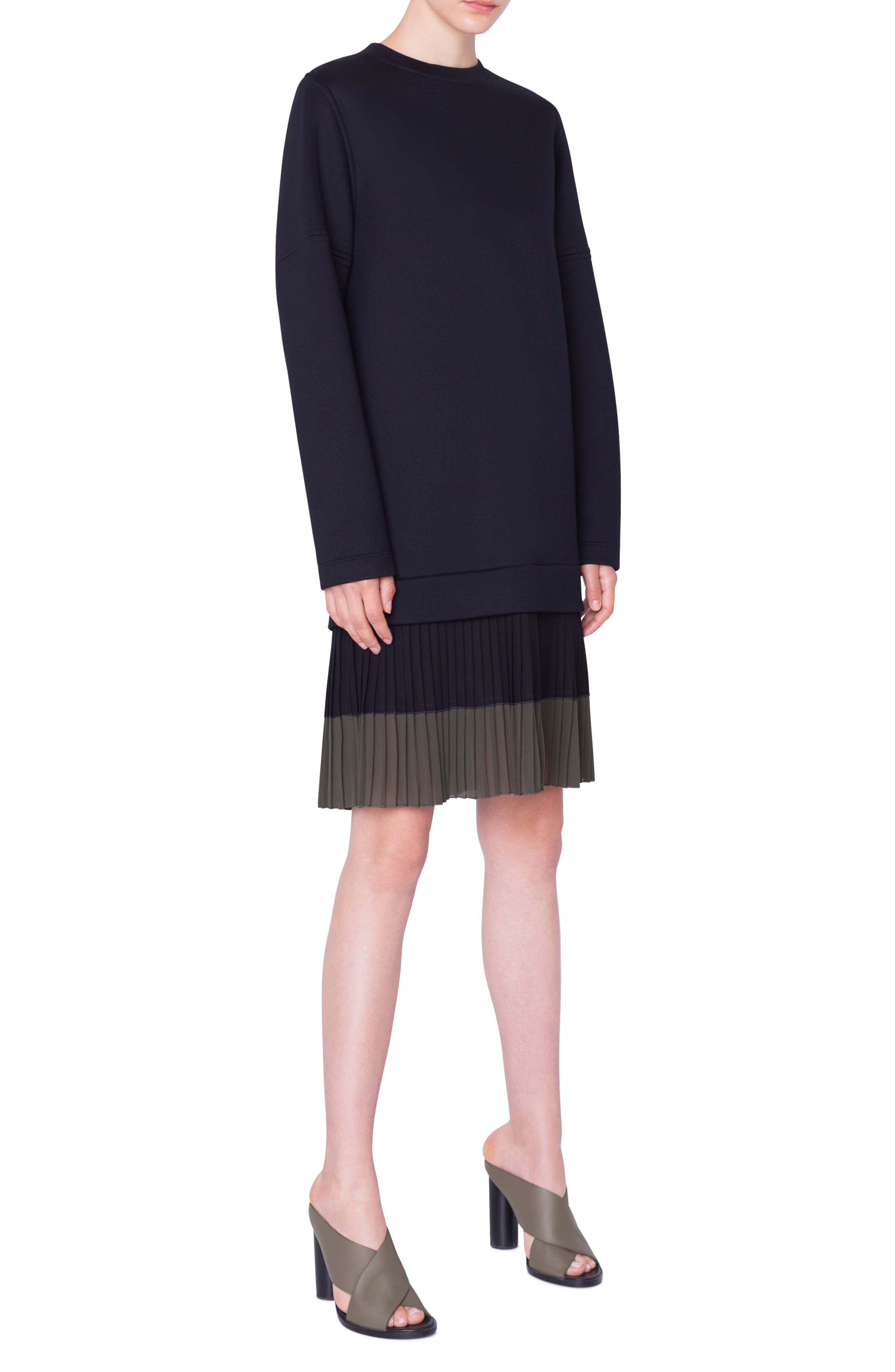 ,                             Pleated Hem Sweatshirt Dress,                             Alternate thumbnail 4, color,                             NERO-OLIVA