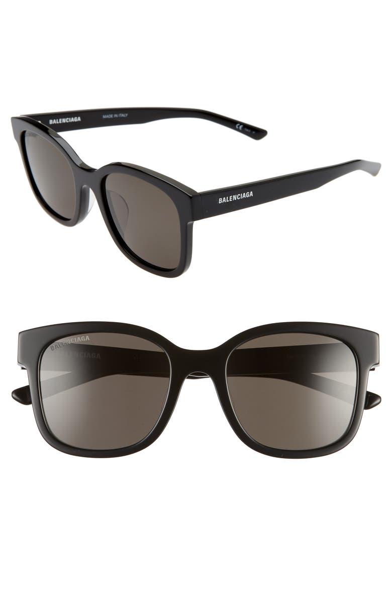 BALENCIAGA 52mm Polarized Square Sunglasses, Main, color, BLACK/ GREY