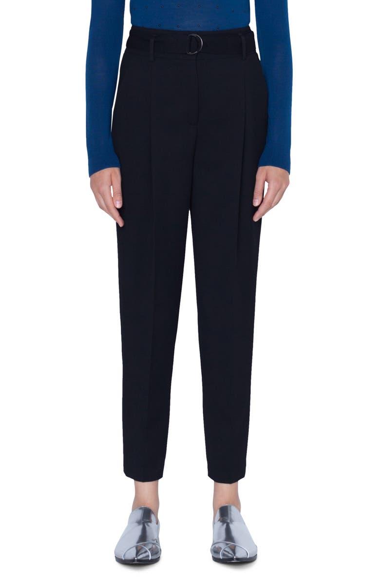 AKRIS PUNTO Fred Crop Wool Pants, Main, color, BLACK