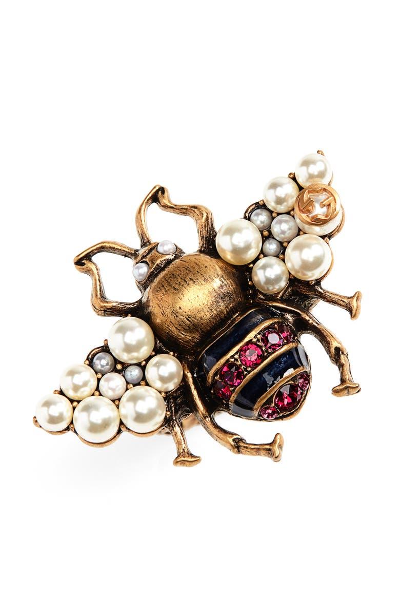 GUCCI Fashion Show Imitation Pearl & Crystal Bee Ring, Main, color, 710