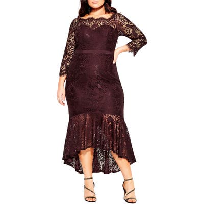 Plus Size City Chic Estella Lace High/low Cocktail Dress, Red
