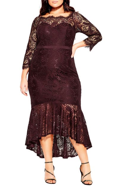 City Chic ESTELLA LONG SLEEVE LACE MERMAID GOWN
