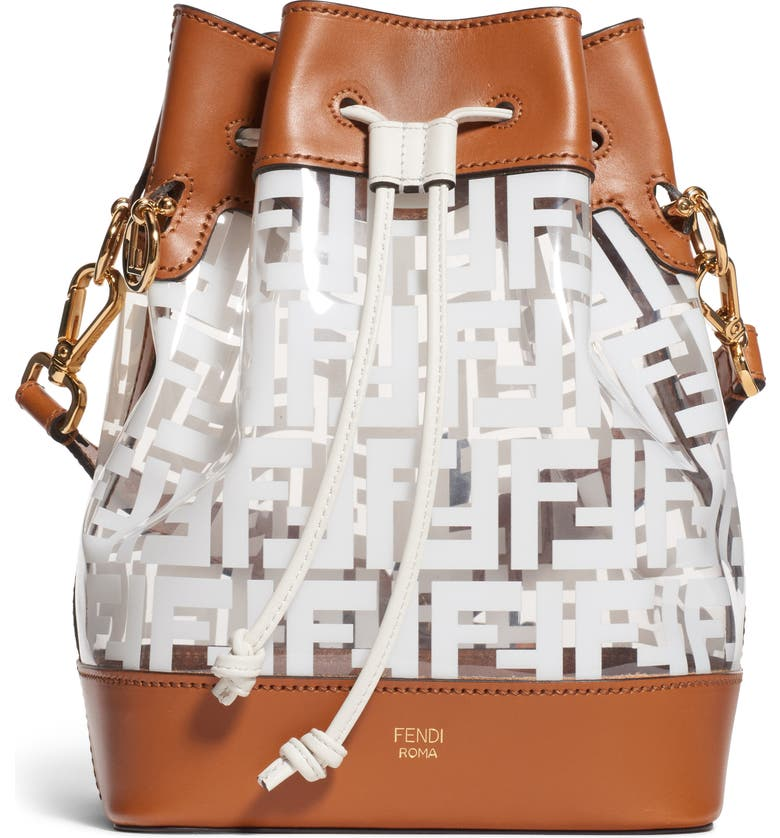 FENDI Mon Tresor Logo Transparent Bucket Bag, Main, color, BIANCO/ CUOIO/ ORO SOFT