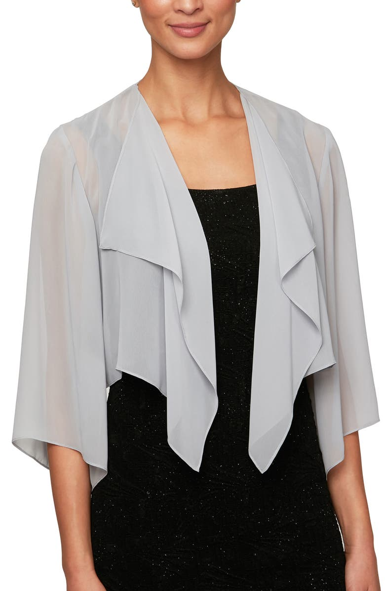 ALEX EVENINGS Hanky Bolero Cardigan, Main, color, SILVER
