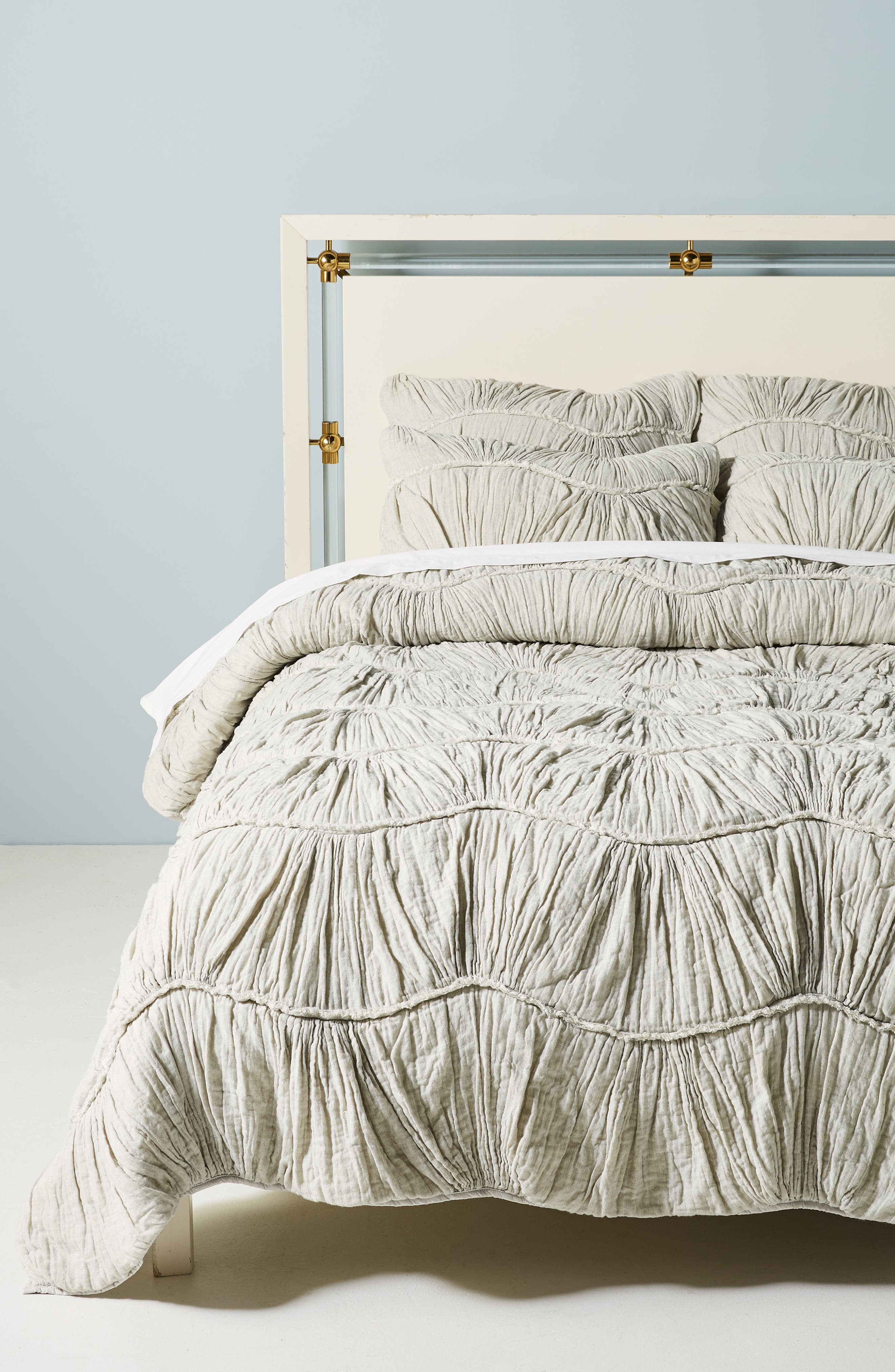 Ruched Wave Quilt, Main, color, GREY