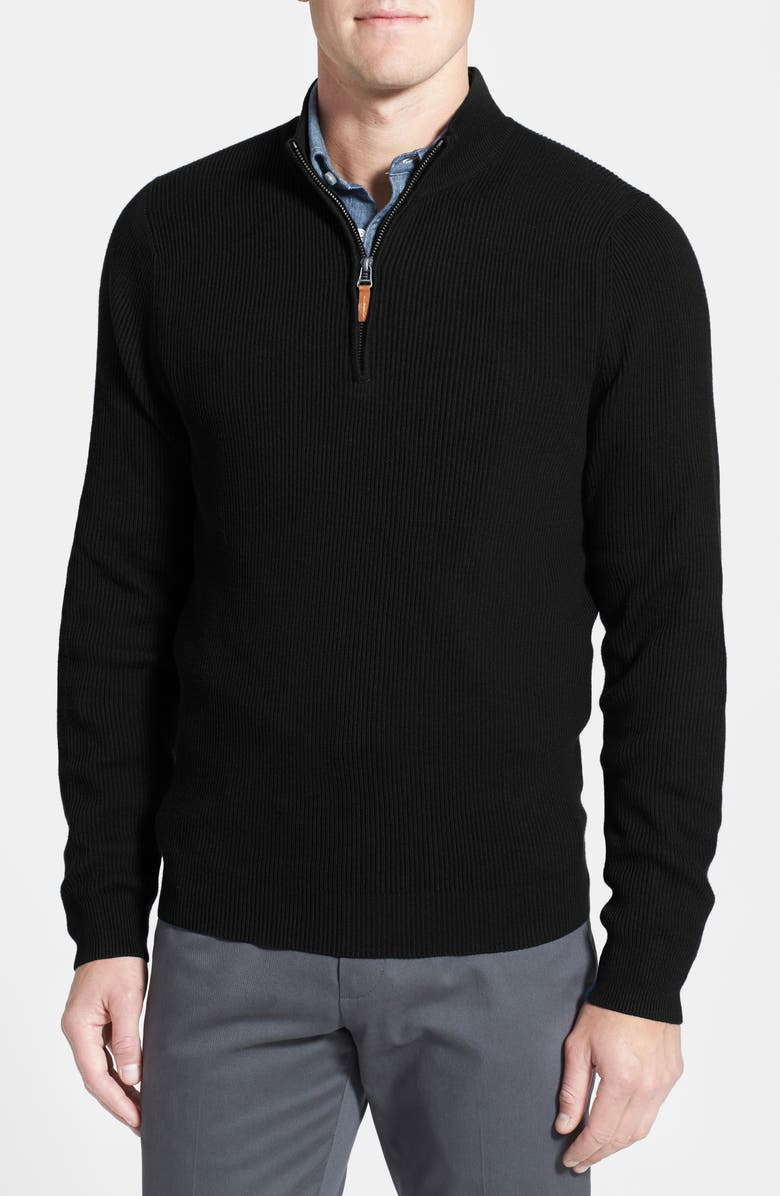 NORDSTROM MEN'S SHOP Cotton & Cashmere Rib Knit Sweater, Main, color, 001