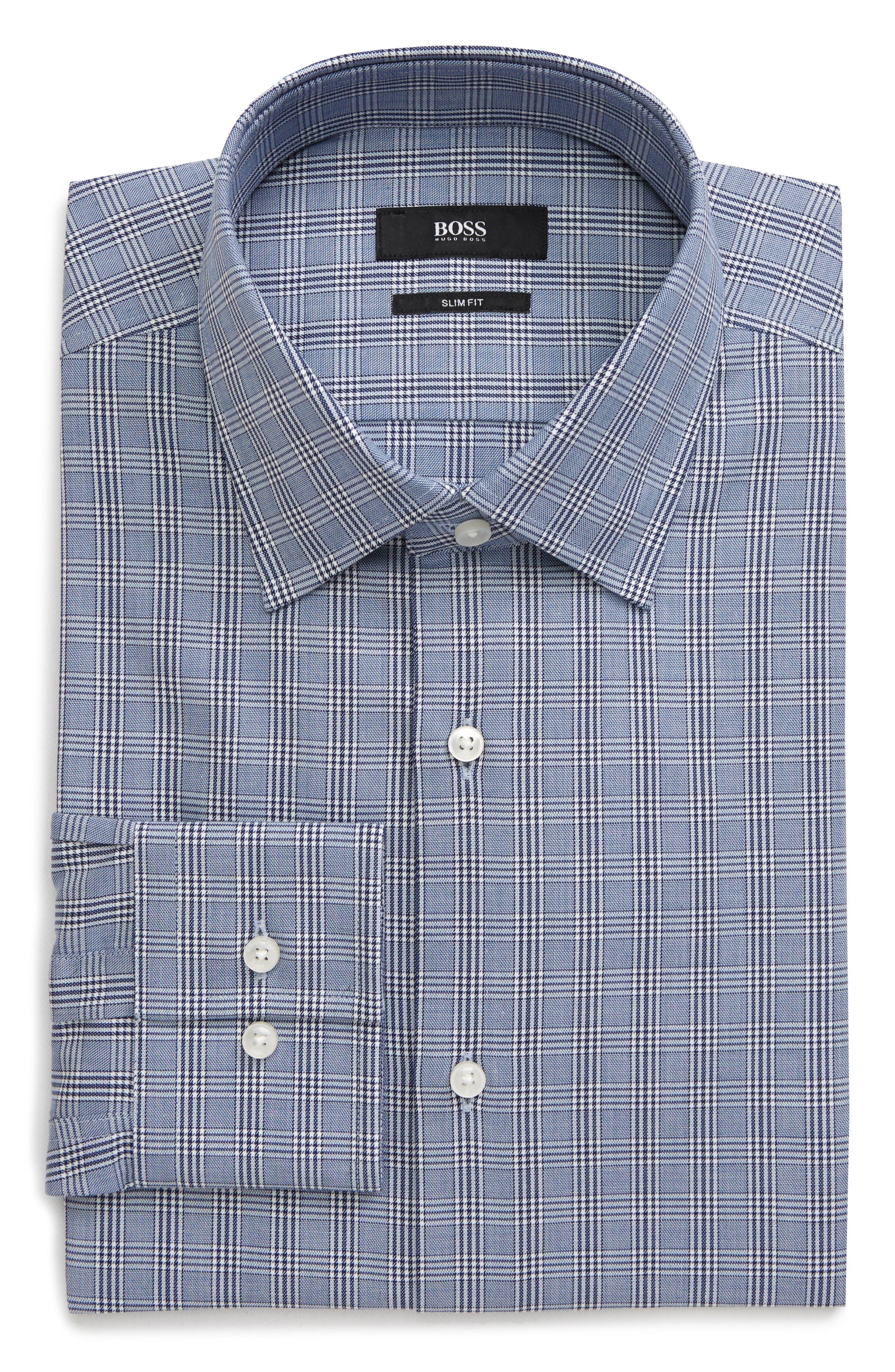 Image of BOSS Slim Fit Plaid Dress Shirt