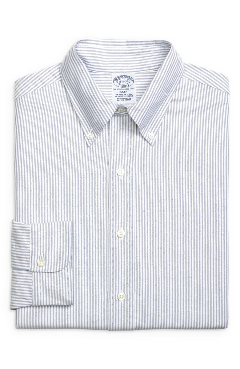 BROOKS BROTHERS Regent Regular Fit Stripe Dress Shirt, Main, color, BNGLSTRP BL