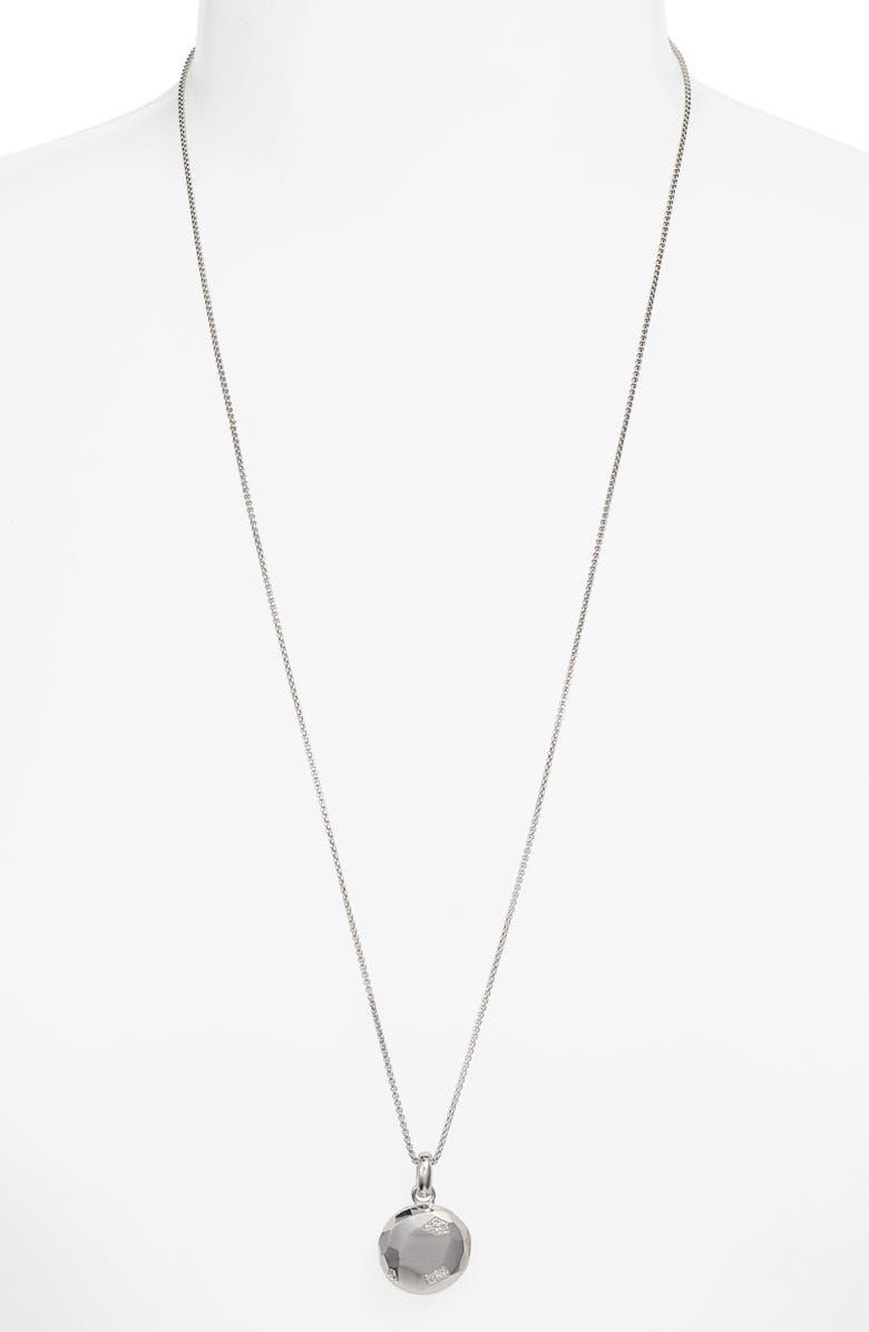 KENDRA SCOTT Locket Necklace, Main, color, RHODIUM/ WHITE CZ