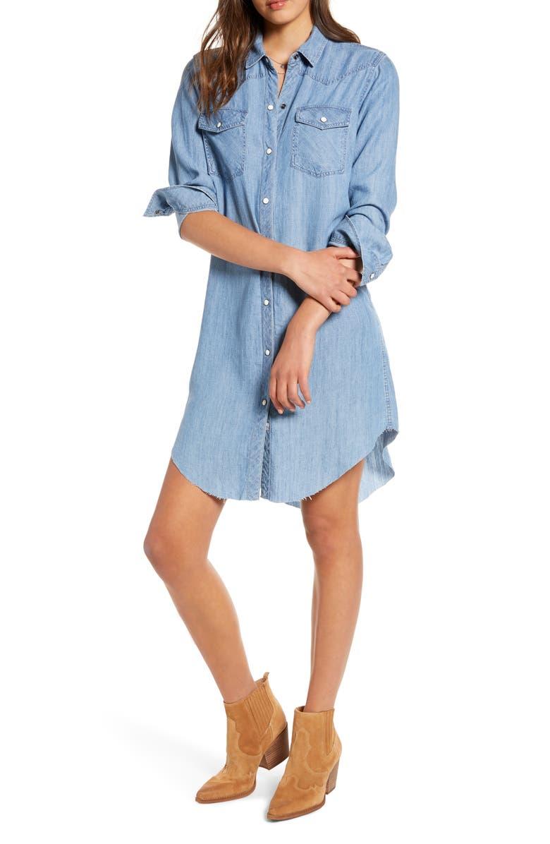 RAILS Sandra Raw Hem Long Sleeve Chambray Shirtdress, Main, color, MEDIUM VINTAGE