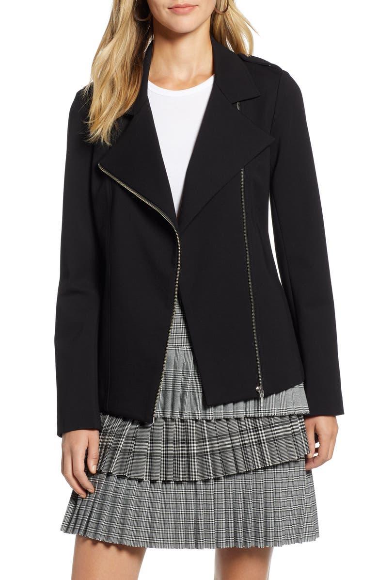 HALOGEN<SUP>®</SUP> Long Knit Moto Jacket, Main, color, 001