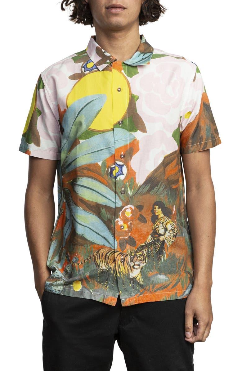 RVCA Grisancich Slim Fit Woven Shirt, Main, color, 001
