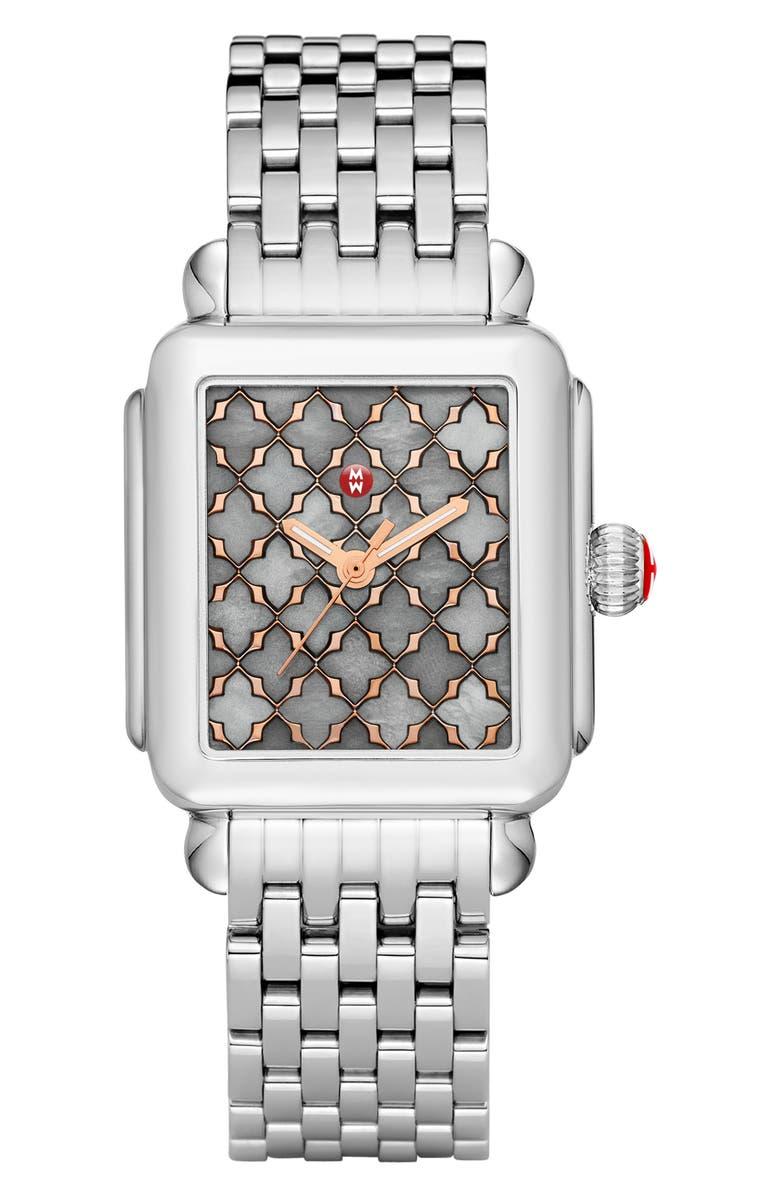 MICHELE Deco Bracelet Watch, 33mm x 35mm, Main, color, 040