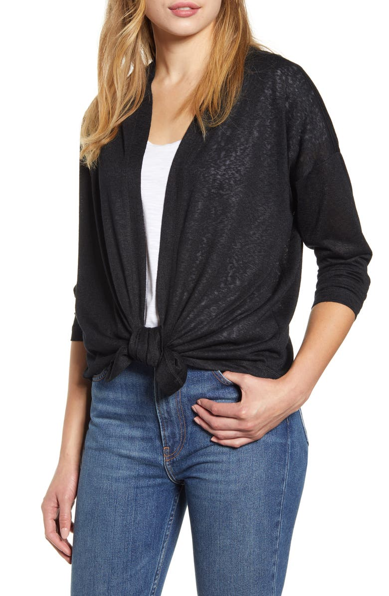 BOBEAU Cecile Tie Front Cardigan, Main, color, BLACK