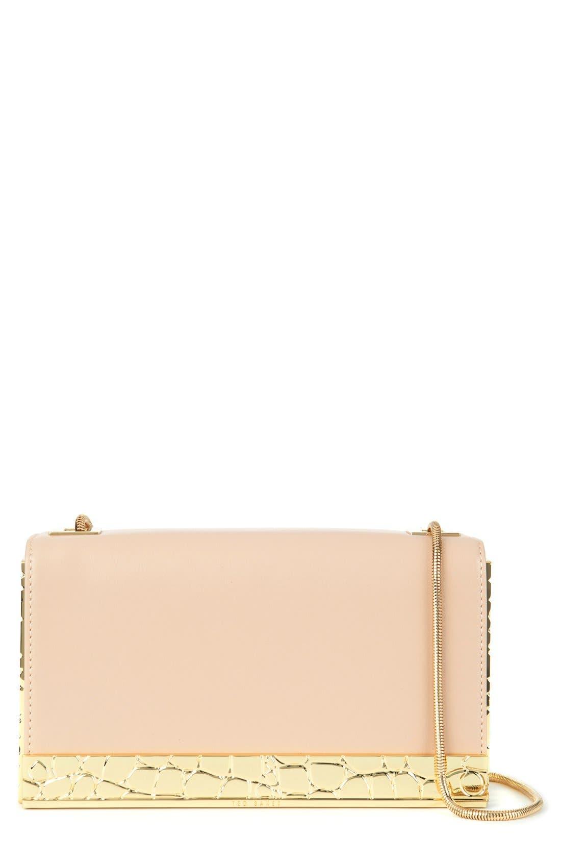 'Elise' Leather Box Clutch, Main, color, 250