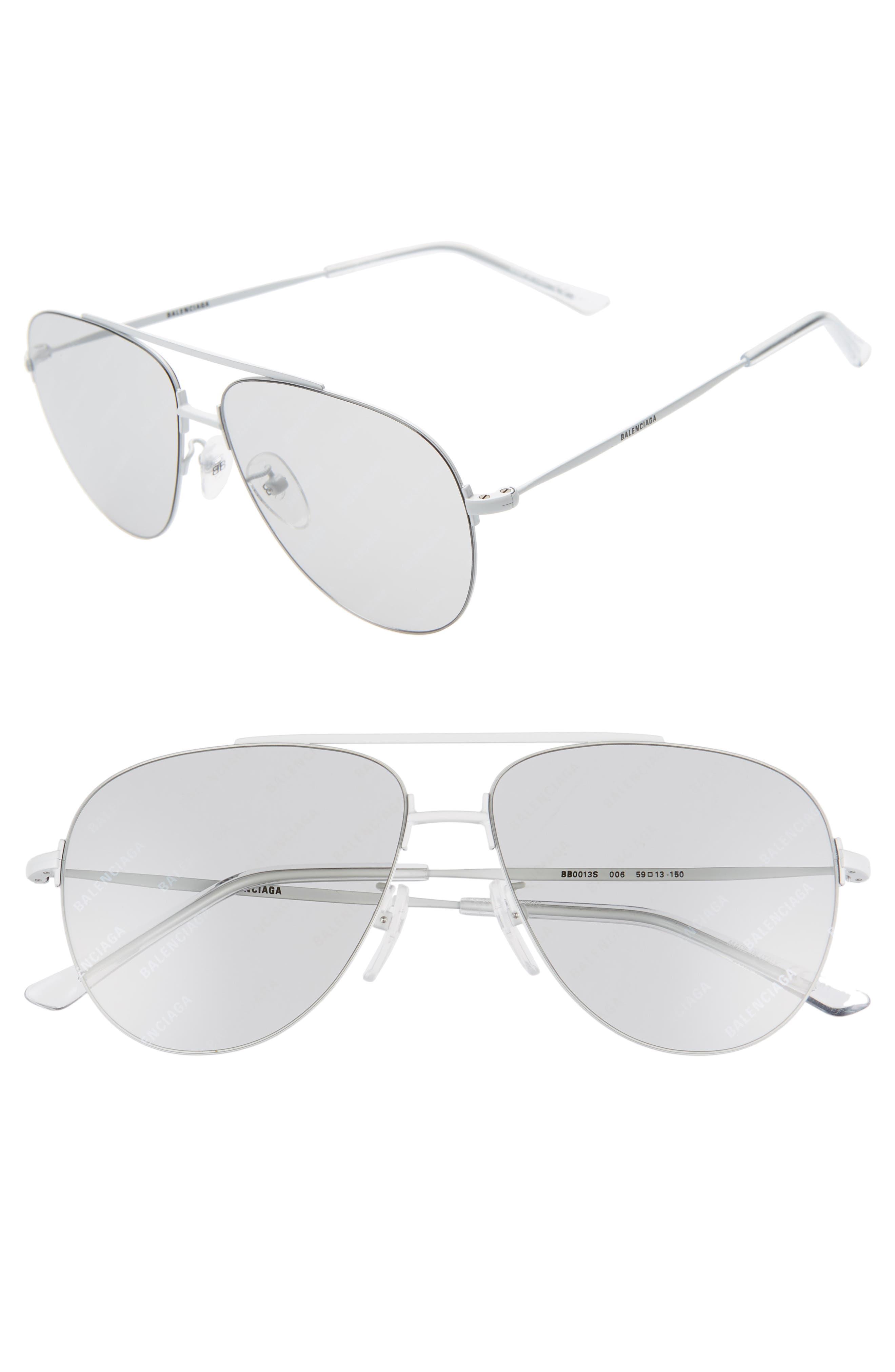 Balenciaga 5m Aviator Sunglasses - Shiny Solid White/ Grey