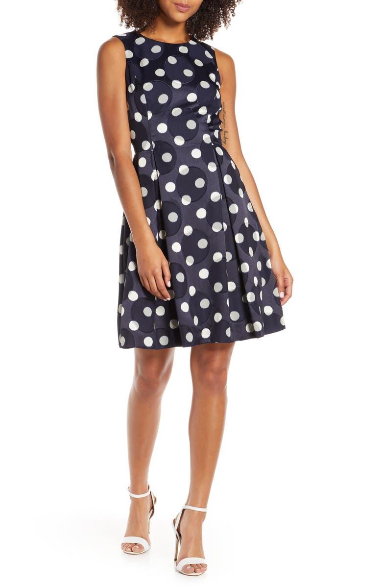 VINCE CAMUTO Dot Jacquard Fit & Flare Dress, Main, color, 400