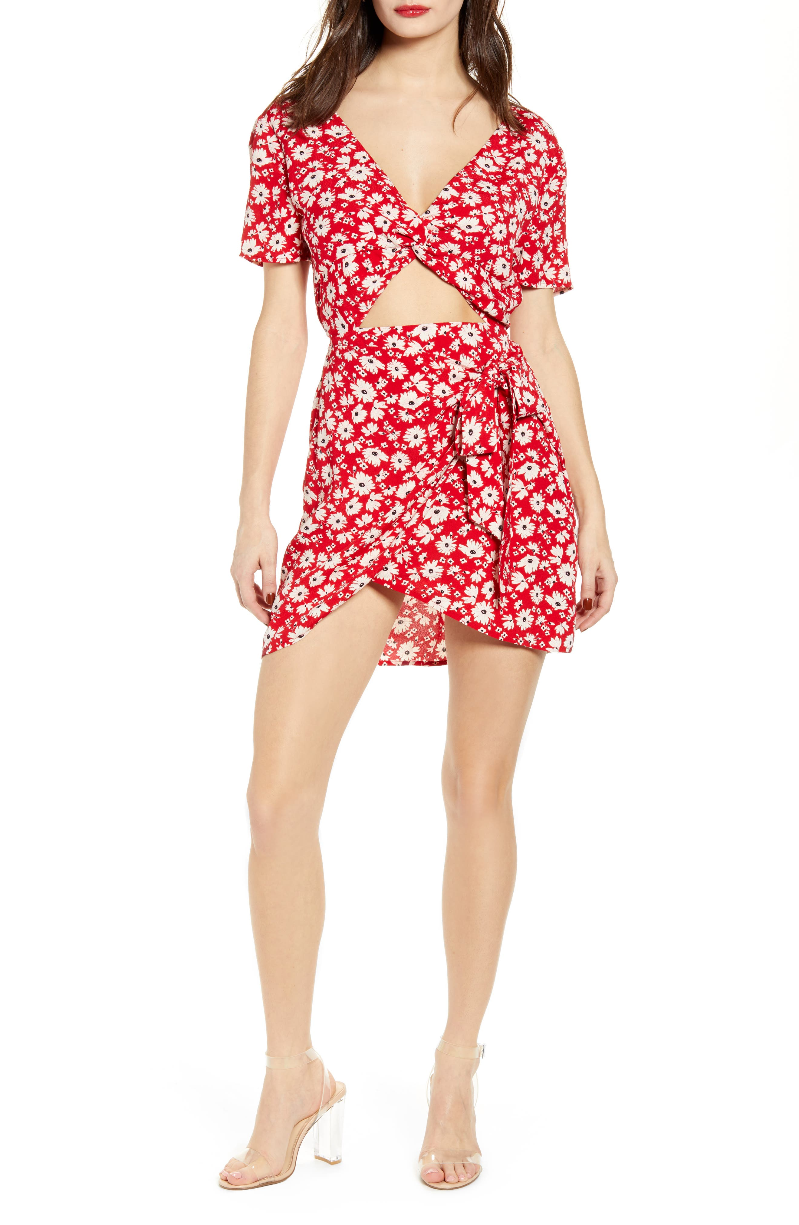 J.o.a. Front Twist Minidress, Red