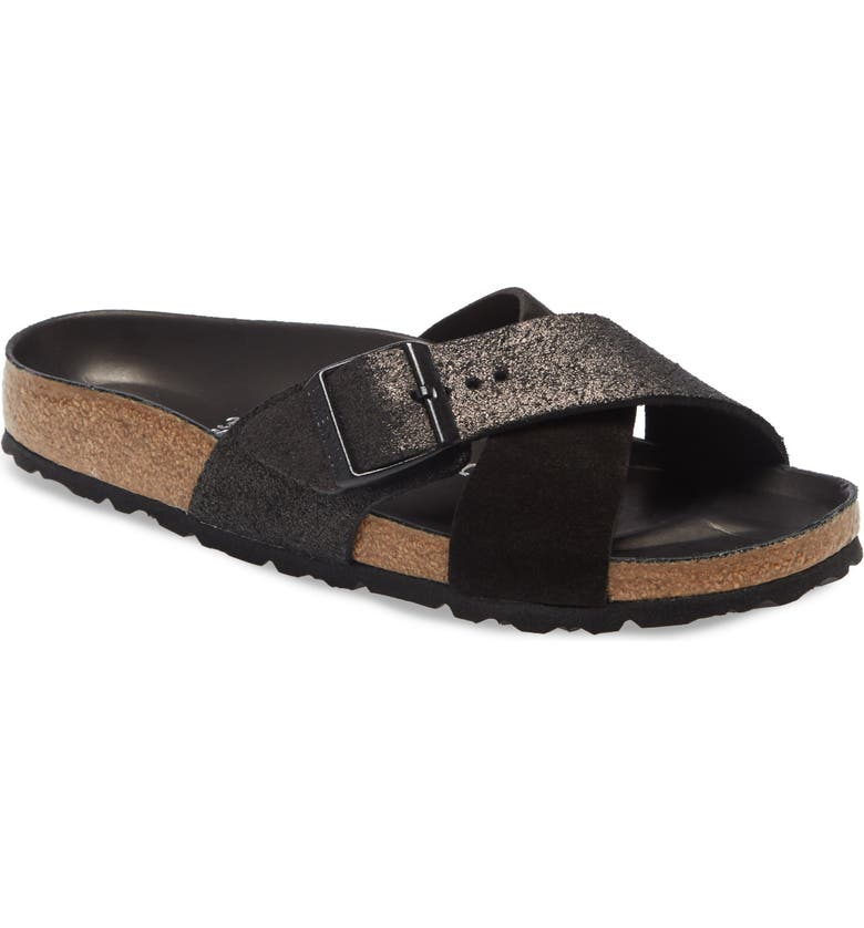 BIRKENSTOCK Siena Hex Slide Sandal, Main, color, BLACK SUEDE